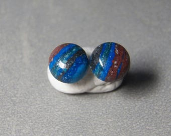 10mm Rainbow Calsilica Gemstone Post Earrings with Sterling Silver