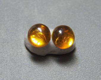 10mm Baltic Amber Gemstone Post Earrings with Sterling Silver