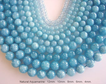 SALE. Natural Aquamarine Bead Strands, Round, Aquamarine, 12mm, 10mm, 8mm, 6mm, 4mm, Hole: 1mm; about 15inch. (BD-A336-338)