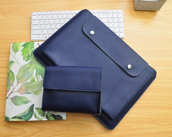 Handmade Blue Leather New Macbook Pro Case 13inch /15inch New Macbook Sleeve Genuine Leather New Macbook 12inch Case Leather Laptop Bag-084