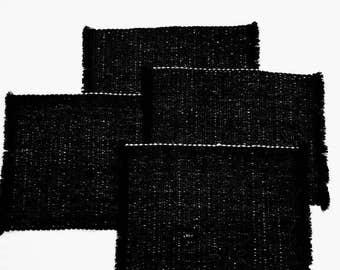 Set of 4 Black Fringe Placemats