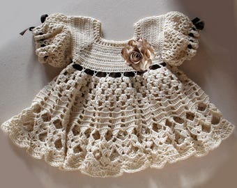 Baby dress 6 - 9 months , crochet pattern , Crochet baby dress
