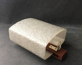 Apply wall vintage teak and glass fiber - Mid century sconce