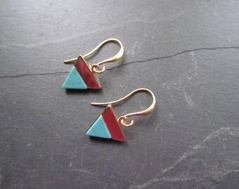 turquoise earrings, triangle earrings, blue marble earrings, geometric earrings, minimalist earrings, minimal earrings, turquoise jewelry