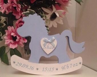newborn baby gift, Rocking horse, personalised