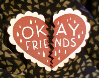 Okay Friends Pin Set, an alternative to best friends charms, red and white, laser cut acrylic