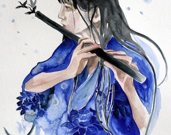 Chinese girl- original watercolor