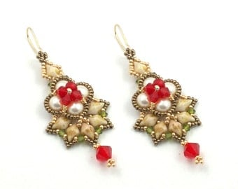 "Beading4perfectionists:  ""Omarosa"" earrings beading pattern tutorial PDF file"