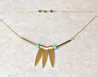 Turquoise 'Stella' 14K goldfill necklace
