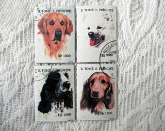 Postage Stamp Fridge Magnet Set - 4 Dogs Puppies Pet Picture Mini Refrigerator Magnets - Animal Lover Birthday Stocking Filler Kitchen Gift