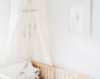 Bed Canopy in Linen Cotton - for a childrens bedroom, nursery or play room
