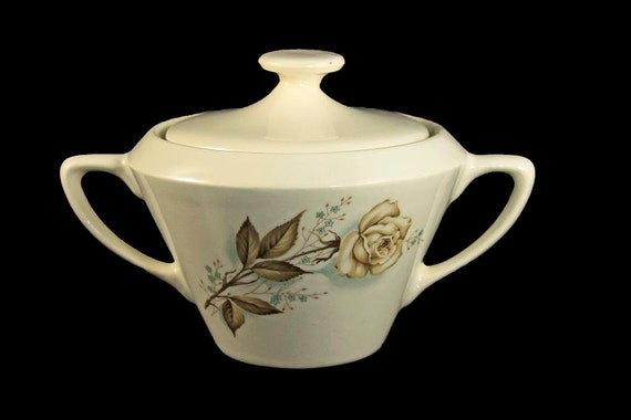 Mount Clemens, Sugar Bowl, Brown Rose, Hard to Find Pattern, Covered Sugar Bowl