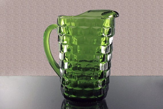 1 1/2 Quart Pitcher, Colony, Whitehall Avocado Green, Cube Design, Heavy