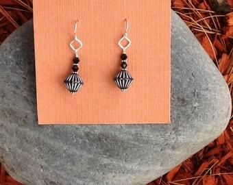 Sterling Silver African Bead Drop Earrings