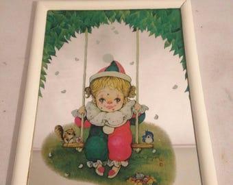 Mirror drawing signed child + frame Vintage old