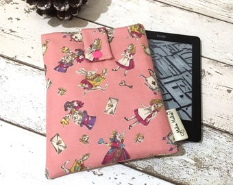 Pink Alice Kindle Sleeve, Padded eReader Case, Travel Voyage, Fire HD, Oasis, Paperwhite Sleeve. Wonderland Tablet Cover, eBook Pouch