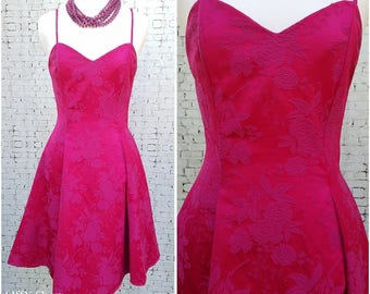 Fuchsia thin strap brocade mini dress with a sweetheart neckline - small