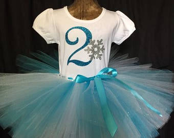 Girl's second birthday outfit, 2nd Birthday shirt, Frozen Birthday, turning two, 2 years old, girls outfit, birthday set, two years old tutu