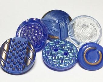 """Blue vintage glass button lot 3/4""""-6pc"""