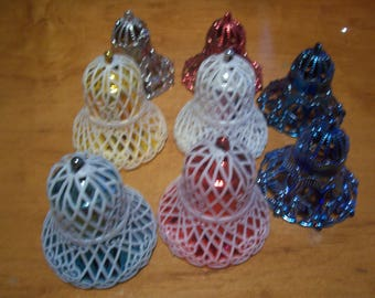 Eight Assorted Hard Plastic Christmas Bell Ornaments