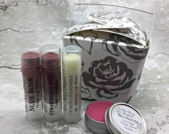 LIP TINT & BLUSH Gift Set , Lip Tint ,  Blush , Tinted Lip Balm , Lip Balm , Girlfriend Gift , Gift for her