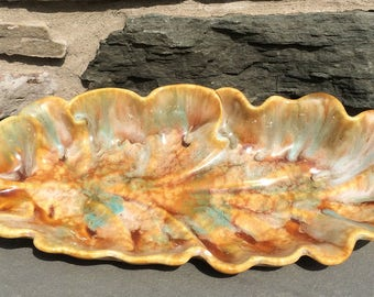 Vintage Leaf Pottery USA...Gold. Blue. Ivory. Platter. Old. Handmade. Retro. Scalloped. Tray. Footed.