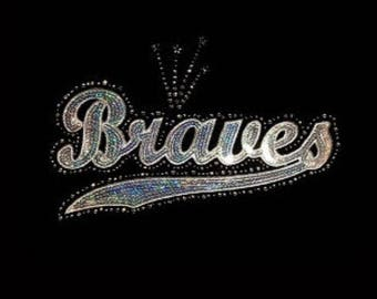 Braves - Silver - Mascots - Iron on Transfer - Sequin and Rhinestone - J8261