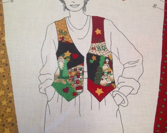 Christmas Vest Cut out And Sew Printed Cloth Sheet, Sizes Small, Medium and Large wtih Instructions