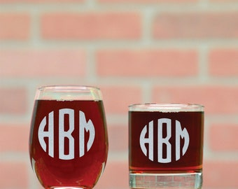 Monogrammed Wine and Rocks Glasses. His and Hers Custom Monogram Whiskey and Stemless Wine Glasses.