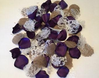 Purple Rustic Petals/Country Flower Girl/Rustic Toss Petals/Barn Wedding Petals/Rustic Wedding Decorations/Grappa Petals/Rose Petals