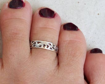 Sterling Silver Toe Ring, Silver Knuckle Ring, Silver Adjustable Ring, Silver Spiral Ring, Silver Ethnic Ring, Oxidized Silver Ring