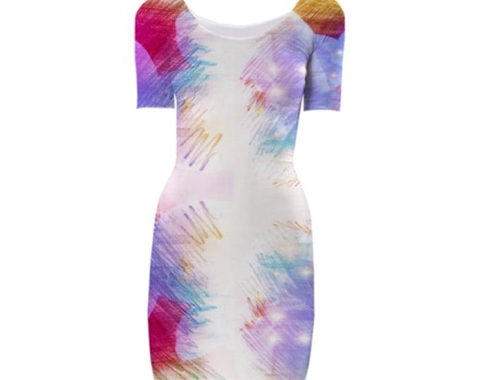 Pure Elegant Bodycon Dress - Evening Dress, Cocktail Dress, Party Dress, Midi Dress, Elegant Dress, Floral Art Dress, Custom-Made Dress