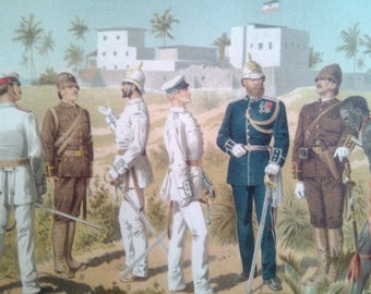 """Chromolithograph """"Uniforms of the protection force""""."""