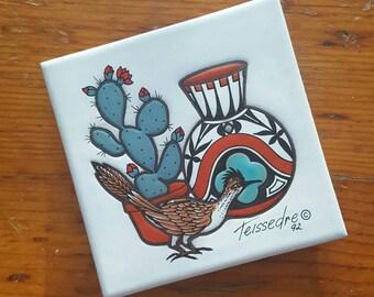 Vintage Cleo Teissedre Roadrunner Hand Painted Ceramic Tile / Trivet / Wall Hanging