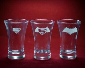 Batman Vs. Superman Shot Glasses