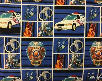 Police Department Fabric By the Yard, Half, Fat Quarter Canine Police Car Badge Motorcycle Handcuffs Cotton Quilting Apparel Fabric t2/32