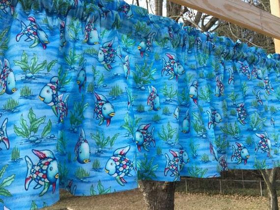 The rainbow fish fabric tropical blue silver metallic for Rainbow fish fabric