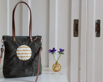 Pocket tote bag canvas shabby Crescent curry