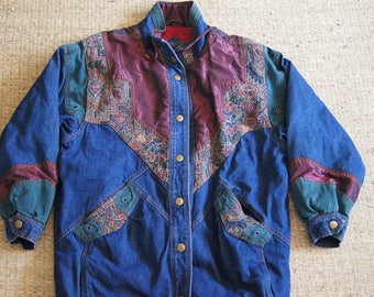 Vintage 1990's - Two Twenty - Denim Jacket with Patches - Size Large - Heavy winter coat with amazing patches and super 90s