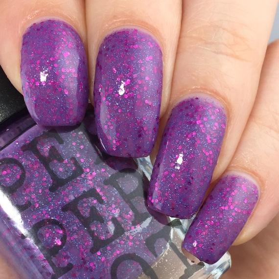 Pink And Blue Glitter Nail Polish