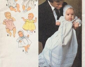 Simplicity 8971 babies layette dress, romper & bonnet size 6 months vintage 1970's sewing pattern  Uncut  Factory folds