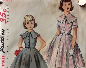 Simplicity 1022 girls dress w/large collar size 10 vintage 1950's sewing pattern