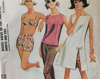 McCall's 7800 vintage 1960's misses dress or top, pants or shorts and bra sewing pattern size 16 bust 36 waist 28  Uncut  Factory folds
