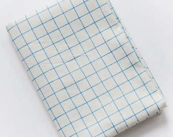 Plaid fabric, Plaid cotton linen fabric, Big grid fabrc, Check fabric, Blue plaid offwhite fabric  by half yard  - 1/2 yard