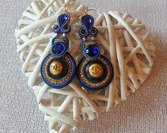 """New """"blue Royal Chanel"""" earrings with authentic CHANEL buttons"""