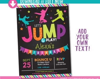 Jump Birthday Invitation / Trampoline Party Invite / Bounce House Birthday Invitations / Instant Download
