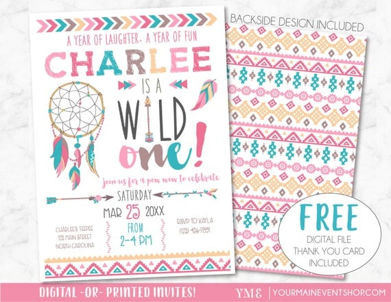 Wild One Birthday Invitation, Dreamcatcher Girl Tribal Arrow Feathers Pow Wow Invite Printable • Pink Boho Wild and Free Thank You Card