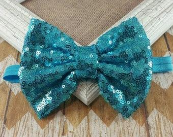 Aqua bow headband, aqua headband, Aqua sequin bow headband, large bow headband, Sequin bow headband, Aqua headband, Mermaid headband, sequin