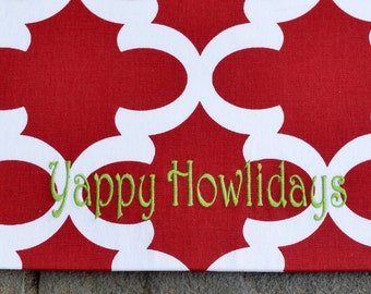 Yappy Howlidays Bowl Mat || Personalized Christmas Gift || Food+Water Bowl Mat || Puppy Feeding Station by Three Spoiled Dogs