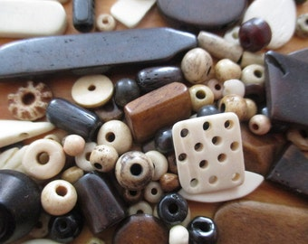 50 Pcs. Mixed Buffalo Bone Beads - Native American (Sage Blessed)